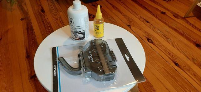 Maszynka do mycia łańcucha + preparat do odtłuszczania + olej