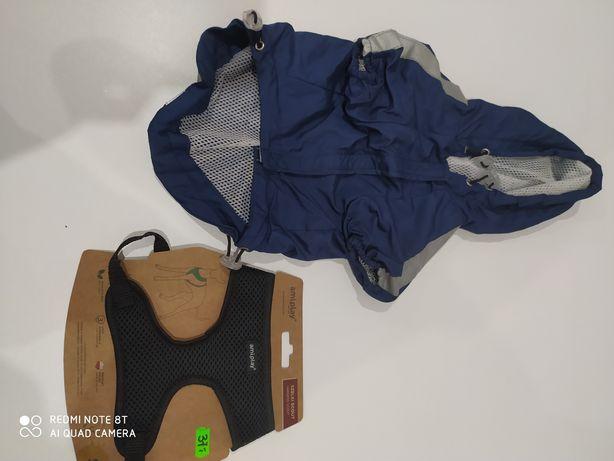 Szelki i kurtka przeciwdeszczowa na małego pieska S