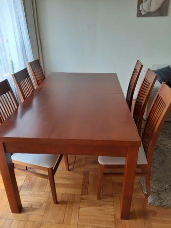 stół drewniany, rozkładany z 6 krzesłami wym. 100 x 180/240 x 80
