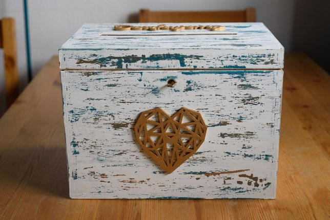 Skrzynka pudełko na koperty weselne, piękna ręcznie malowana + gratisy