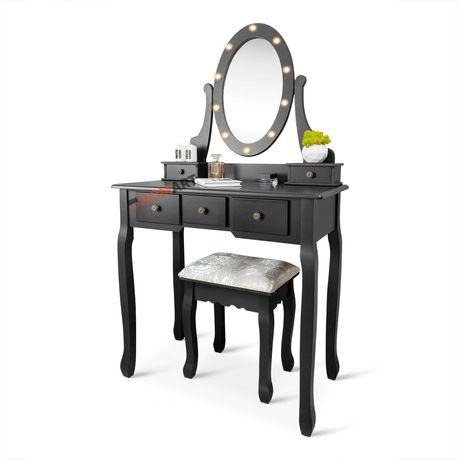 Homart туалетный столик для макияжа, косметический c подсветкой черный
