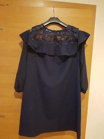 Sukienka granatowa rozm.46 koronkowa,elegancka,wizytowa