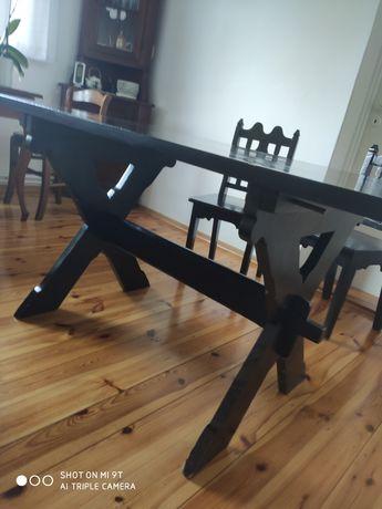 Stół i 4 krzesła PRL kupione w Cepelii