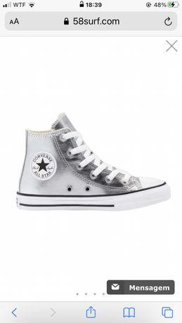 All star bota prateados orginais tamanho 38