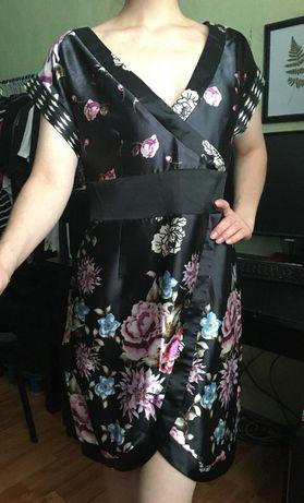 Красивое платье в японском, китайском стиле. Цветочный узор. Размер L