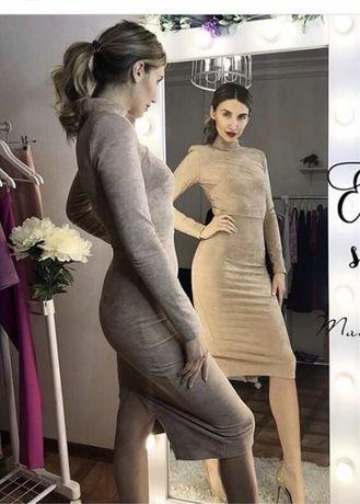 Платье футляр замшевое/велюровое
