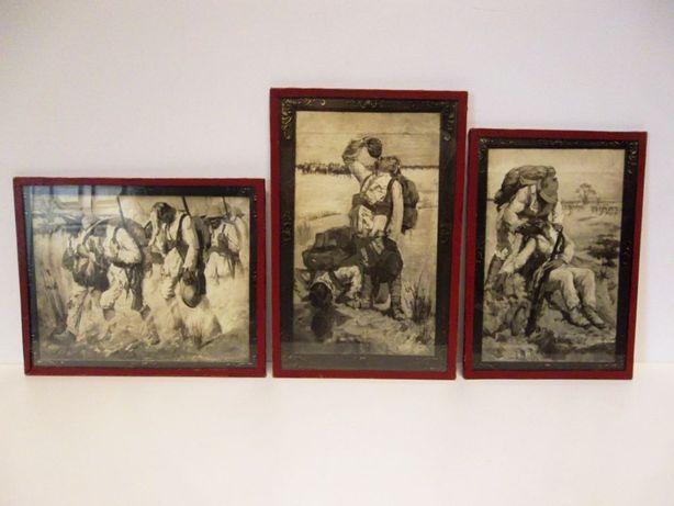 3 imagens - impressões de pinturas da I Guerra Mundial em Africa
