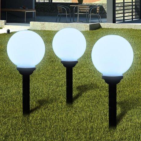 Lampa Ogrodowa LED SOLARNA kula biała czujnik zmierzchu 12 sztuk