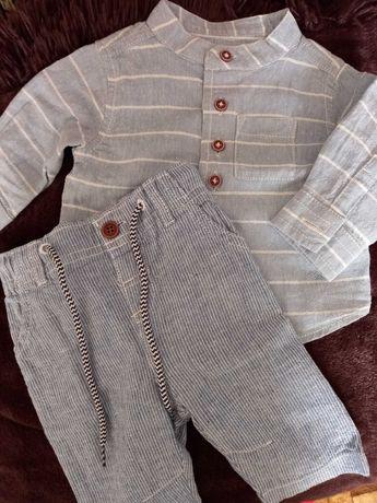Рубашка і штани з льону для новонародженого хлопчика