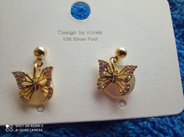 Красивейшие серьги бабочка позолота 14К