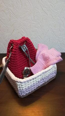 вязаные сумки-торбочки ручной работы
