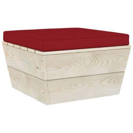vidaXL Almofadão para otomano de paletes tecido vermelho tinto 315085