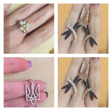 АКЦИЯ Набор золотые серьги подвеска кулон кольцо с жемчугом
