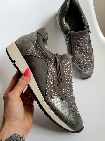 Snekersy buty skóra szare r. 37 j. NOWE