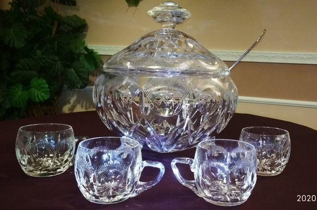 Изысканный Хрустальный Набор Nachtmann CRYSTAL\ваза-чаша + чашки\