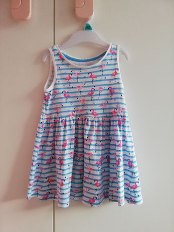 Sukienka 80 F&F flamingi lato sukieneczka paski