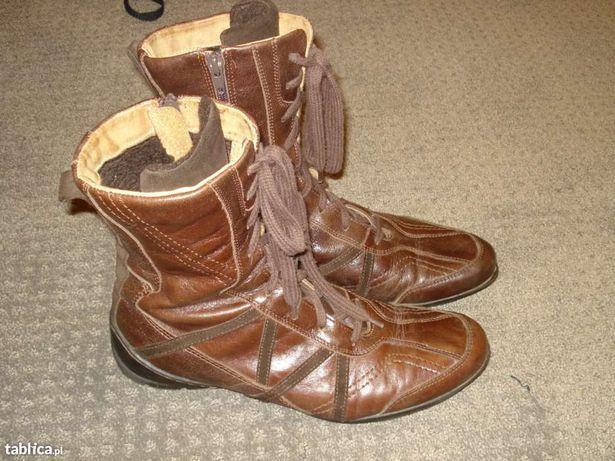 Damskie skórzane buty zimowe 40