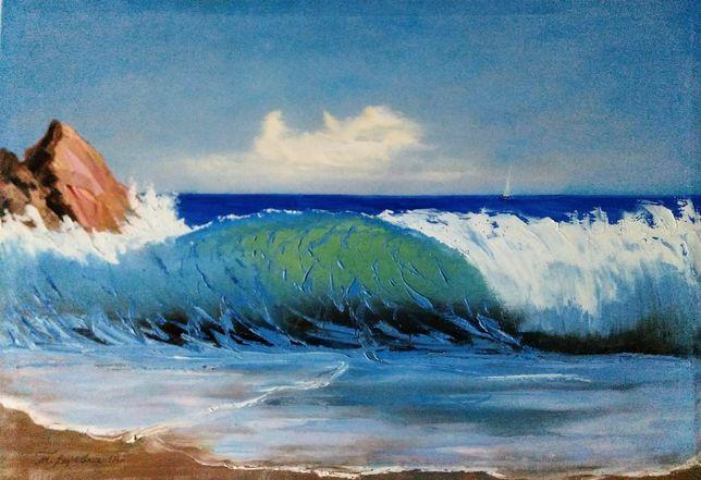 """Картина """"Морская волна"""", масло, холст, 45,5*66,3см"""