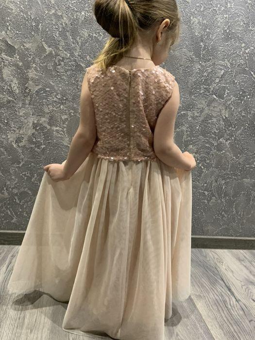 платье нарядное,выпускное 128р Next цвет пудра,паетки фатин Покотиловка - изображение 1