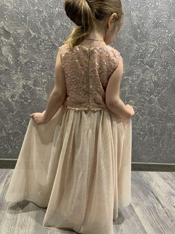 платье нарядное,выпускное 128р Next цвет пудра,паетки фатин