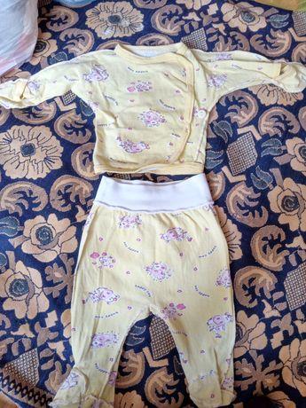 Комплект для новорожденных 0-3 штанишки кофточка