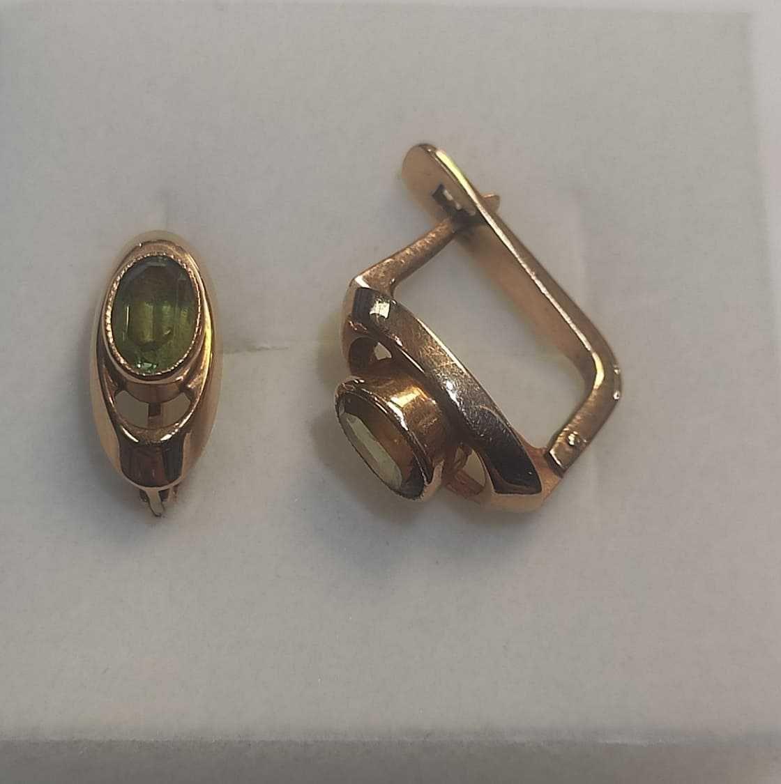 złote kolczyki z zielonym oczkiem , lombard madej sc