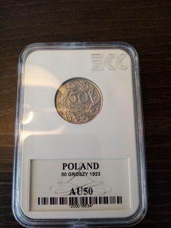 Piękna moneta 50 groszy z 1923 w grandingu