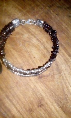 bransoleta srebrna z granatami