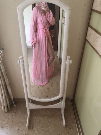 Пляжный халат длинный с длинным рукавом парео накидка на пляж розовый