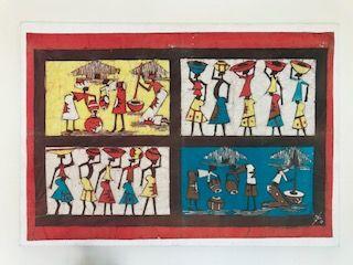 quadro com aplicação de batik