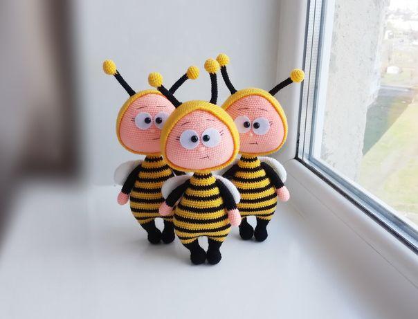 Пчела, оса, вязаная игрушка, подарок на день рождения