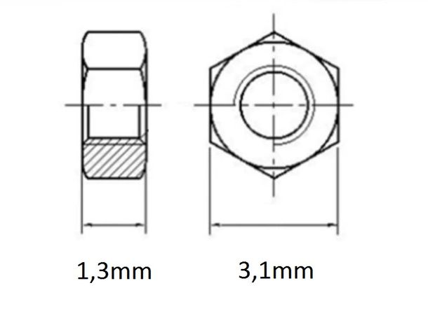 Nakrętka M1,6, nakrętka sześciokątna dla śrub M1.6,stal nierdzewna 304