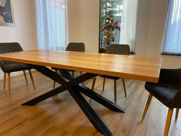 przepiękny dębowy stół na nogach typu pająk