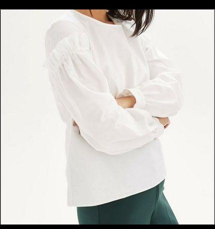 Белая хлопковая блуза рубашка