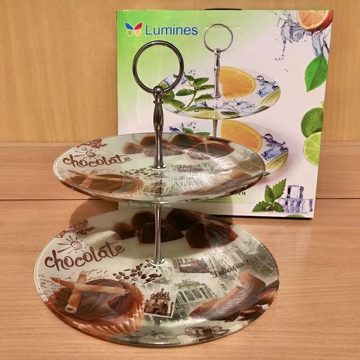 Подарочная фруктовница двухъярусная Lumines стекло новая Киев Киев - изображение 1