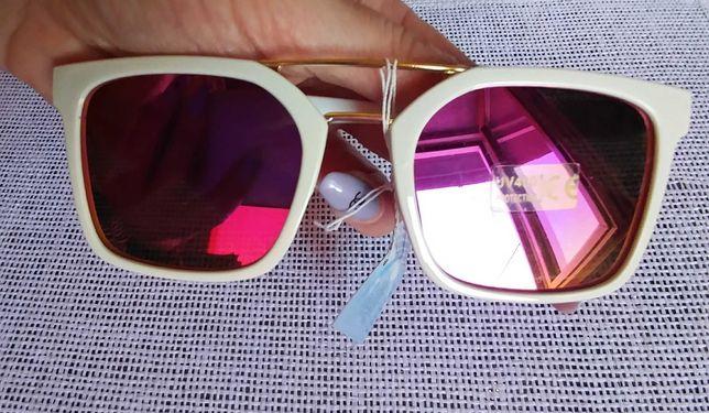Okulary lustrzanki lustrzane w stylu Ray Ban białe złote Różowe filtr