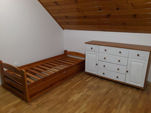 Komoda i rama łóżka drewniane solidne
