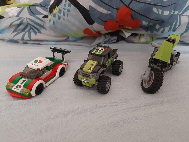 Lego samochody,ciężarówka,motor.