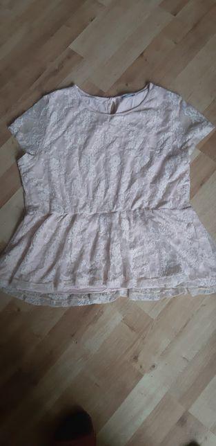Bluzka krótki rękaw koronkowa z baskinka 46/48