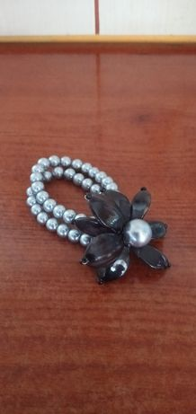 Bransoletka srebrno czarna perełki