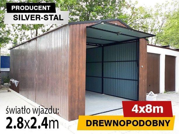 Silver Stal - Graż Blaszany 4x8 drewnopodobny z dachem dwuspadowym