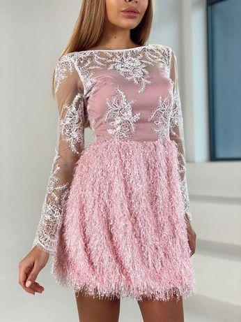 Продам Розовое ПЛАТЬЕ- Мини с кружевом и пушистой юбочкой .Новое