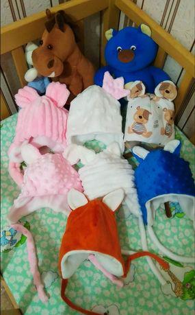 Шапочка для новорожденних, мальчик, девочка, плюш осень зима!