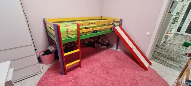 Кровать детская с горкой 90х200см. Производство Дания Массив