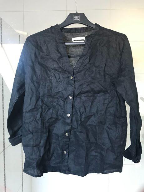 Nowa lniana bluzka Pull&Bear, czarna, S/M, len
