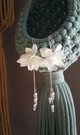 Kolczyki kwiaty ślubne okazjonalne