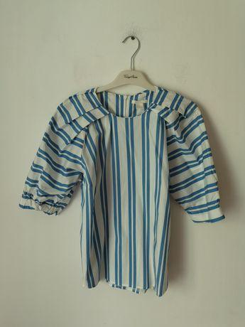 Bluzka w paski h&m 44 XXL paseczki pasy biało niebieska do pracy biura