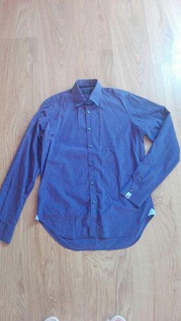 Elegancka basic zara fioletowa śliwkowa koszula slim fit m 38 długi
