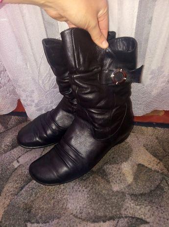 Черные  кожаные полусапожки (зима)