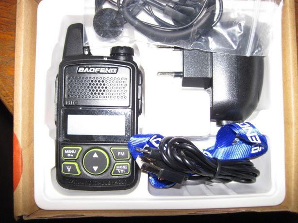 Радиостанция BAOFENG T1 мини дальность 1-3 км. Размер 6 см х 11 см